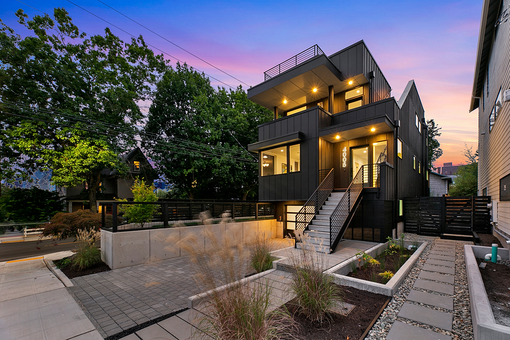 Modern New Construction in Wallingford at Dusk